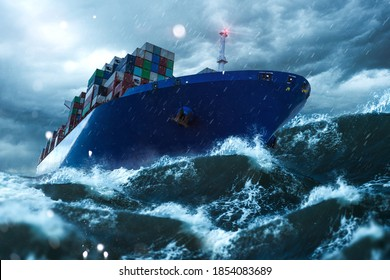 Container ship on stormy seas