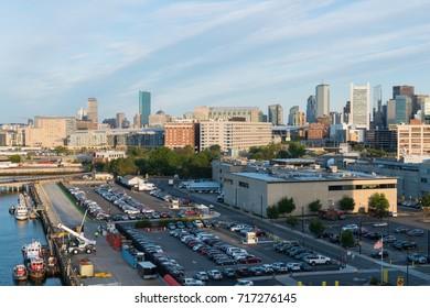 Container ship port and city skyline, Boston, Massachusetts