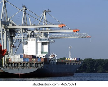Container ship in the port of Hamburg.