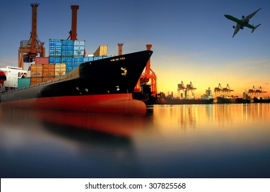 container ship in port for logistic and transport business