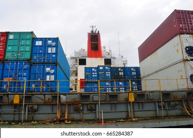 Container ship 's deck. Part of the vessel close-up.