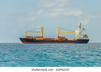 A Container Ship Sailing in the Caribbean Sea