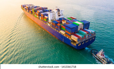 Container ship sailing through the ocean, Business logistics and transportation of International container ship in the ocean freight transportation.