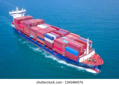 Container ship at sea - Aerial image