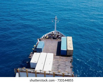 Container ship with at sea - Aerial image