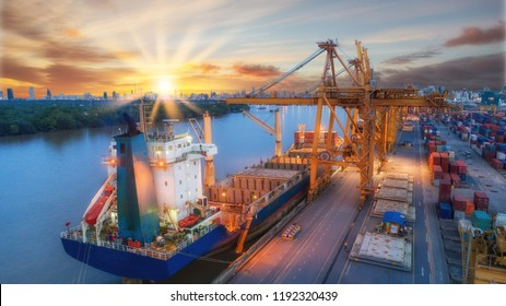 Container ship from sea port warehouse and working crane bridge in shipyard for delivery containers shipment. Suitable use for transport or import export to global logistics concept.