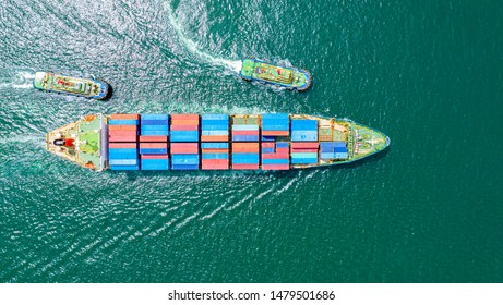 Container Ship Vessel Cargo Carrier. import export logistic and export products worldwide