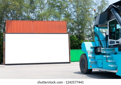 Container shipping for Logistic Import Export business and Industrial . empty white billboard .Blank space for text and images.