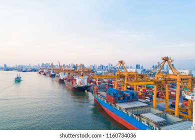 Container Shipping of Logistice and tranport industry with Boat on river and city building, Heavy industry