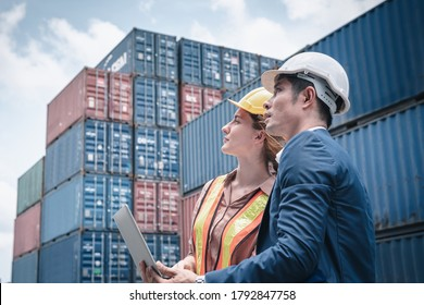 Container Shipping Logistics Engineering of Import/Export Transportation Industry, Transport Engineers Teamwork Controlling Management Containers Box on Laptop at Port Ship Loading Dock. Business Team - Shutterstock ID 1792847758