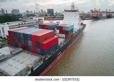Container ships. Ships intended exclusively for the carriage of containers and equipped with the appropriate facilities. Aerial view from drone.