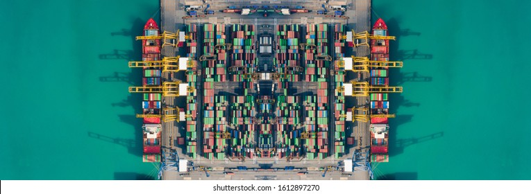 Container ships loading and unloading in Hutchison Ports, Business logistic import-export transport international and transportation of containers in port, Shipping container buildings, Aerial view