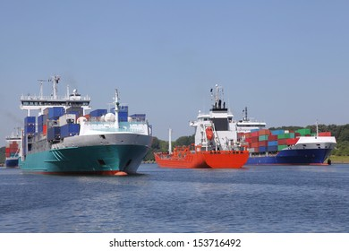 container ships and a tanker on Kiel Canal