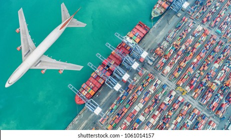 Container ships and transport aircraft in the export and import business and logistics international goods. Shipping cargo to harbor by crane. Aerial view and top view.