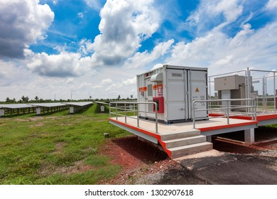 Container with Solar system control in solar farm.