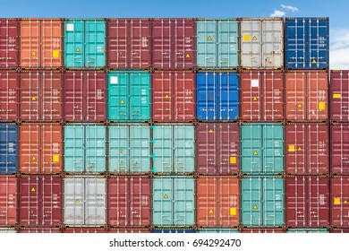 container stack yard background, shipping containers closeup