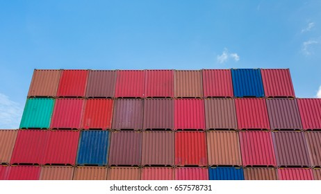 Container stacked, container depot, container yard, empty container