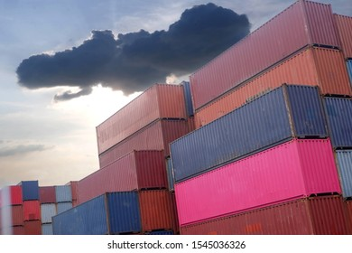 Container stacks in ships waiting to be imported and exported