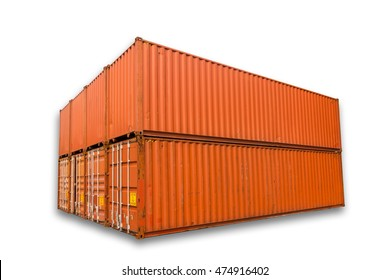 Container storage on isolation white background, Container shipping yard.