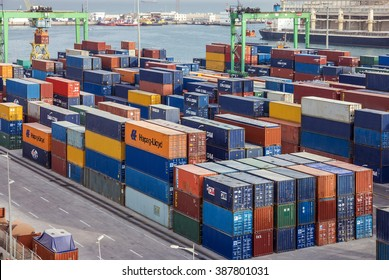 Container terminal in Casablanca sea port, Morocco
