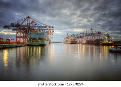 Container Terminal in Hamburg, Germany.