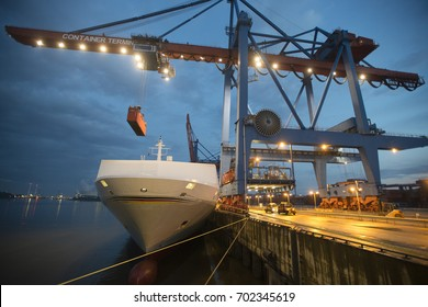 Container terminal in Hamburg at night, Germany