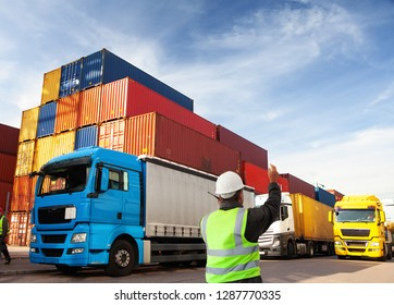 container terminal with Manager,worker   and trucks