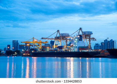 Container terminal in the port of Bankkok during blue hour