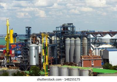 Container terminal in Quarantine harbor of Odessa sea commercial port, Ukraine