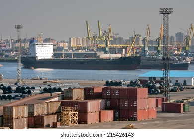 Container terminal at sea trading port