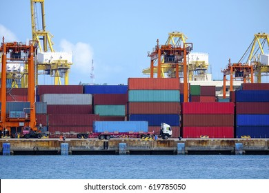 Container terminal,Industrial Container Cargo freight ship for Logistic Import Export .