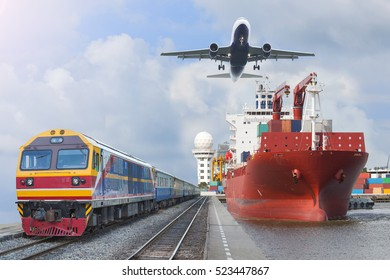 container trains commercial cargo Aircraft import export working crane ship on port use for logistic and transportation delivery.