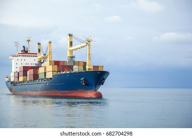 Container transport with a cargo ship in sea