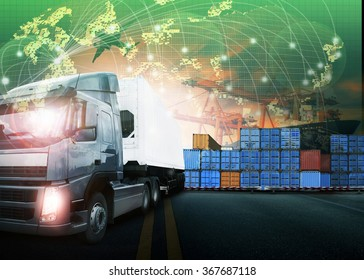 container truck  and freight cargo plane flying use for  transport and logistic business