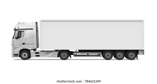 Container Truck Isolated (side view). 3D rendering