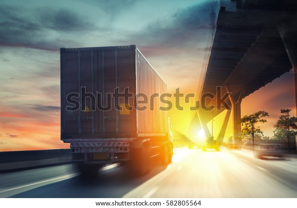Container truck on the highway.