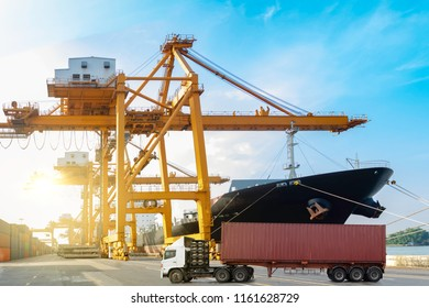Container truck on road with container ship during unloaded in the commercial harbor delivery cargo transportation concept