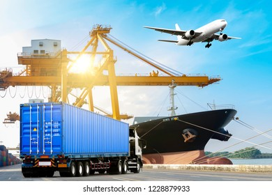 Container truck on road with container ship unloaded in the commercial harbor with airplane flying in the sky. delivery cargo transportation concept
