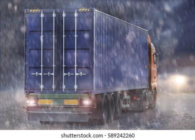container truck rain and sun concept