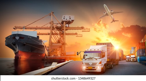 Container truck in ship port for business Logistics and transportation of Container Cargo ship and Cargo plane with working crane bridge in shipyard, logistic import export and transportation concept