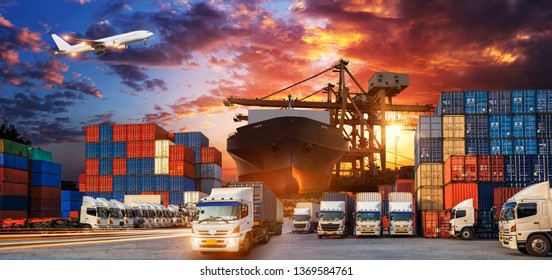 Container truck in ship port for business Logistics and transportation of Container Cargo ship and Cargo plane with working crane bridge in shipyard, logistic import export and transport