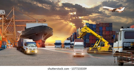 Container truck in ship port for business Logistics and transportation of Container Cargo ship and Cargo plane with working crane bridge in shipyard , logistic import export and transport industry