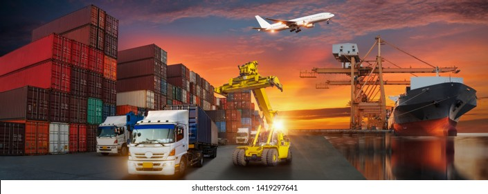 Container truck in ship port for business Logistics and transportation of Container Cargo ship and Cargo plane with working crane bridge in shipyard, logistic import export and transport background