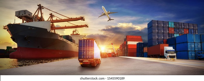 Container truck in ship port for business Logistics and transportation of Container Cargo ship and Cargo plane with working crane bridge in shipyard, logistic import export and transport   - Shutterstock ID 1545590189