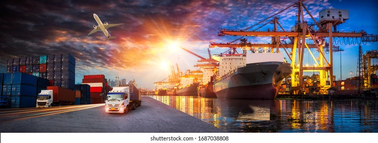 Container truck in ship port for business Logistics and transportation of Container Cargo ship and Cargo plane with working crane bridge in shipyard, logistic import export and transport industry  - Shutterstock ID 1687038808