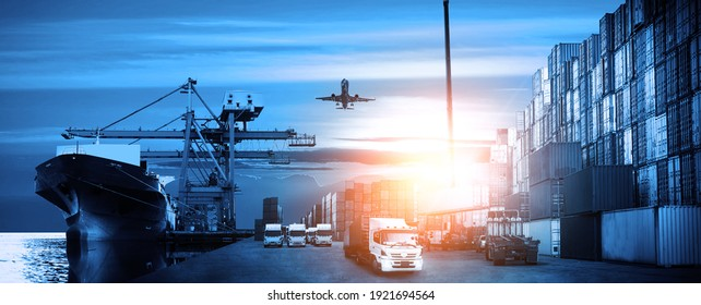 Container truck in ship port for business Logistics and transportation of Container Cargo ship and Cargo plane with working crane bridge in shipyard, logistic import export with blue tone