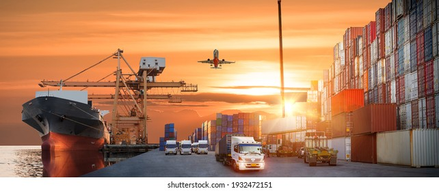 Container truck in ship port for business Logistics and transportation of Container Cargo ship and Cargo plane with working crane bridge in shipyard at sunrise, logistic import export Concept - Shutterstock ID 1932472151