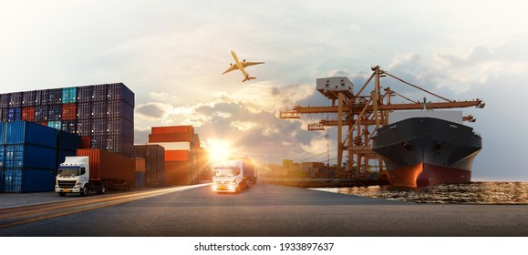 Container truck in ship port for business Logistics and transportation of Container Cargo ship and Cargo plane with working crane bridge in shipyard at sunrise, logistic import export concept - Shutterstock ID 1933897637