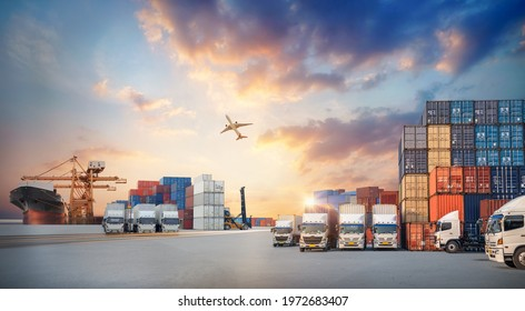 Container truck in ship port for business Logistics and transportation of Container Cargo ship and Cargo plane with working crane bridge in shipyard, Business logistic import export concept