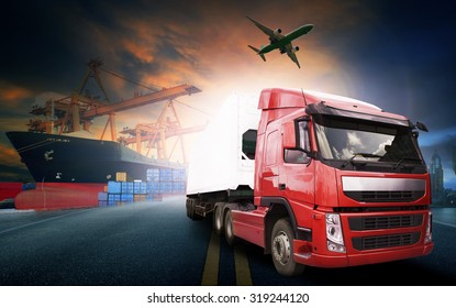 container truck in ship port for logistic and transport business